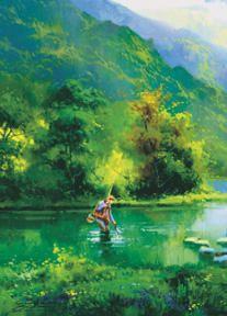 # rcab10079s Fishing At Shallow Creek by Salvador Caballero Art Print