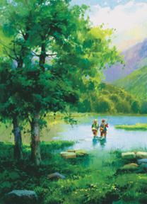 # rcab10080s Fishing On Eagle Lake by Salvador Caballero Art Print