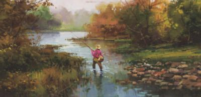 # rcab1073s Fishing At Dawn by Salvador Caballero Art Print
