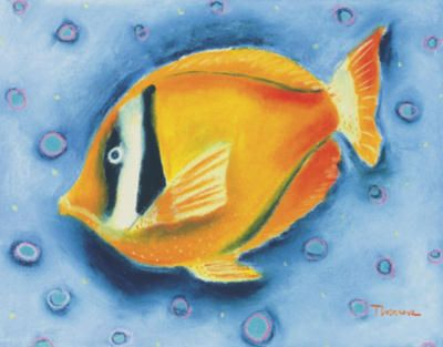 # rcab70695s White Banded Island Fish by Dona Turner Art Print