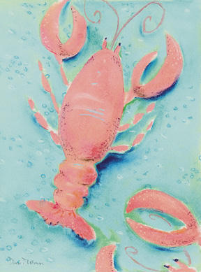 # rcab70824s Lobster Shuffle by Dona Turner Art Print