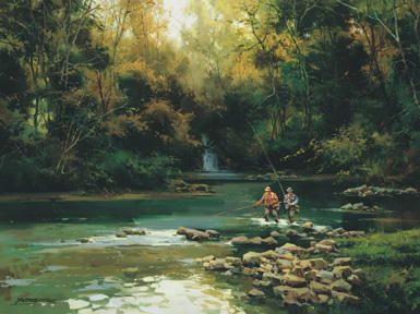 # rcab8690s Trout Fishermen by Salvador Caballero Art Print