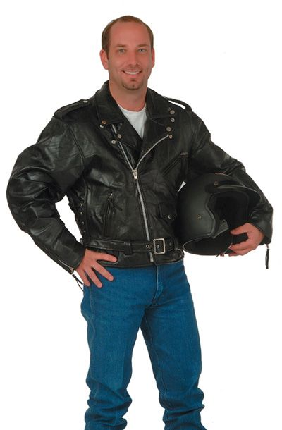 # RCGFMOTS Diamond Plate Buffalo Leather Motorcycle Jacket