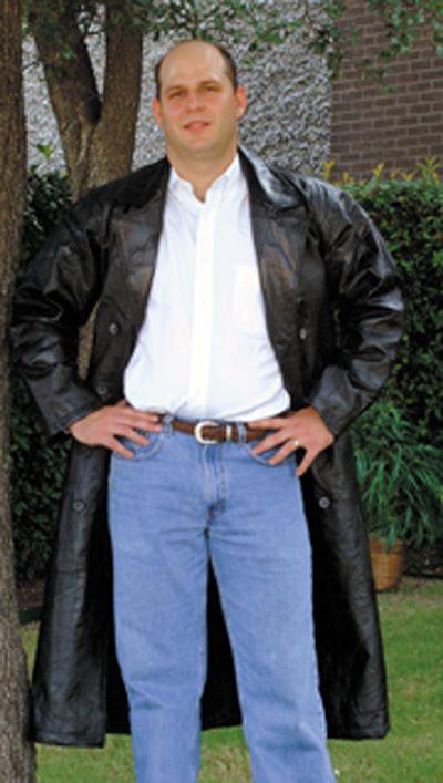 # RCGFTRS Giovanni Navarre Leather Trench Coat