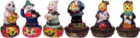 # RCHL1160WS Set of 6 different Ghosts and Goblins Porcelain Hinged Boxes