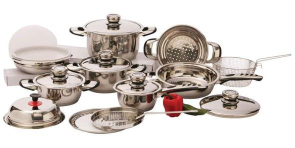 # RCKT22S Chef's Secret 22pc 7-Ply Surgical Stainless Steel Cookware Set