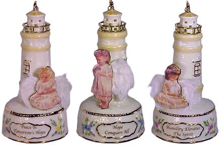 # RCRRDC39074S Christmas Ornament Set - Guiding Light Lighthouses with Angels by the Bradford Exchange
