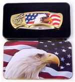 # RCGRKPK4040UE2TS Eagle and Flag Collectable Pocket Knife